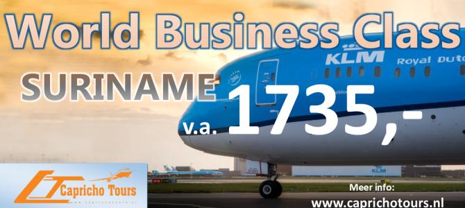 KLM World Businessclass Suriname va €1735,- All-in*