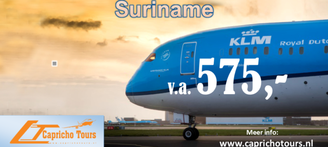 KLM Actie Suriname vanaf €575- All-in*